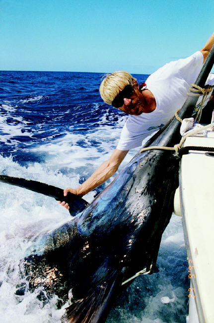 Capt. Per Magnus Ostrand with Jacky Delbrel's 80-lb. line class world record blue marlin - 1,189 lbs - Azores