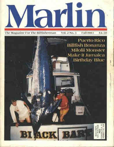 Marlin Magazine cover with blue marlin - 1265 lbs - Kona, Hawaii