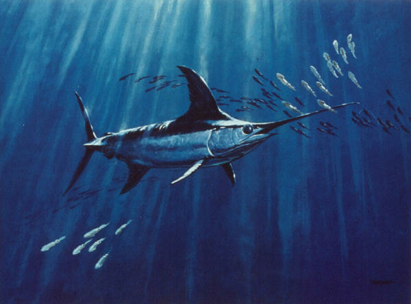 swordfish painting entitled Deephunter by artist Al Barnes, albarnesart@charter.net
